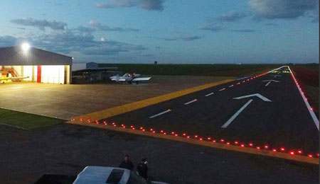 Solar LED Cats Eyes in airport